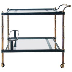 Midcentury Jacques Adnet Bar Cart, circa 1950