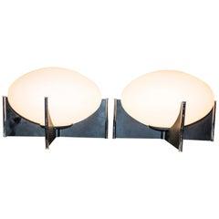 Midcentury White Opaline and Chrome Steel Pair of Italian Stilnovo Style Lamps