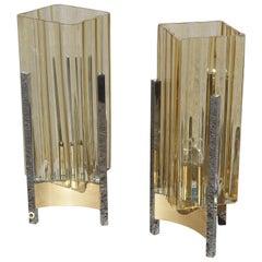 Pair of Table Lamp Sciolari Design Cubic Form Steel Yellow Murano Glass Italian