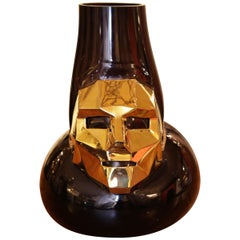 Venise Mask Vase with Black Glass and Bronze