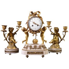 19th Century White Marble and Brass Clock Set Stamped Maple & Co, Paris
