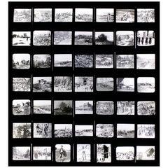 Unique Collection of Forty-Nine Light-Box Framed Lantern Slides of WWI Interest