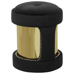 Oldies Stool with Black Velvet and Polished Brass