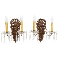 Pair of French Rococo Style Carved Wood and Crystal Sconces