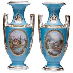 Beautiful Pair of Hand Painted Old Paris Porcelain Vases