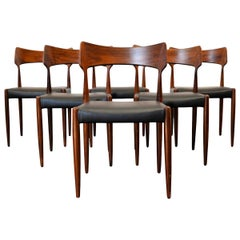 Set of 6 Midcentury Bernard Pedersen & Son Rosewood Dining Chairs
