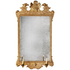 18th Century George II Giltwood Mirror with Eagles Attributed to John Belchier