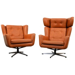 Set of 2 Midcentury Skjold Sørensen Leather Swivel Chairs