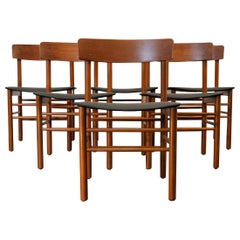 Set of 6 Midcentury Børge Mogensen Teak or Beech Dining Chairs