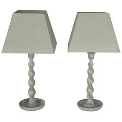 Pair of Antique Limed Oak Twisted Column Table Lamps