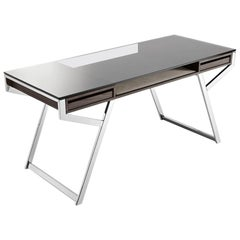 Lui Desk in Natural or Stained Ash with Steel Structure and Glass Top