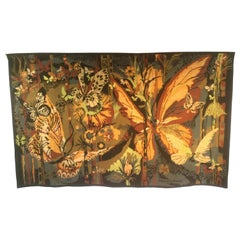 French Butterfly Wool Tapestry by Hervé Lelong