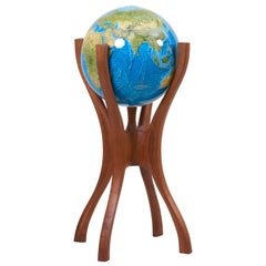 American Studio Globe Stand with Globe by Woodworker Bud Tullis in 1981, Signed