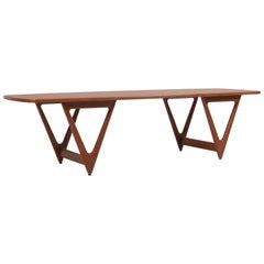 """1950s """"Surfboard"""" Coffee Table by Kurt Østervig for Jason Møbler, Denmark"""