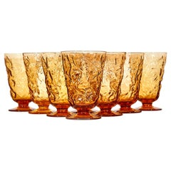 1960s Textured Amber Glass Water Stems, Set of 8