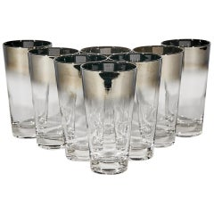 1960s Silver-Fade Tall Glass Bar Tumblers, Set of 8