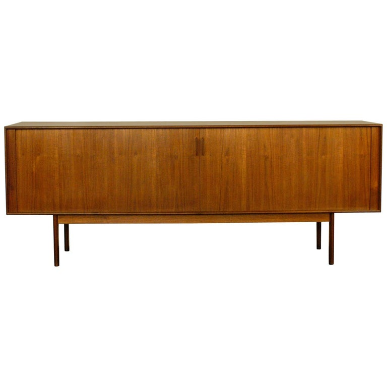 Scandinavian Modern Teak Tambour Door Credenza by Arne Vodder for Sibast For Sale