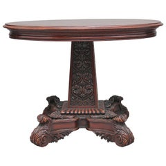 19th Century Walnut Carved Occasional Table