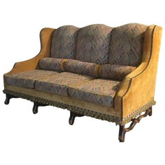 19th Century French Three-Seat Sofa with Wooden Structure and Original Fabric