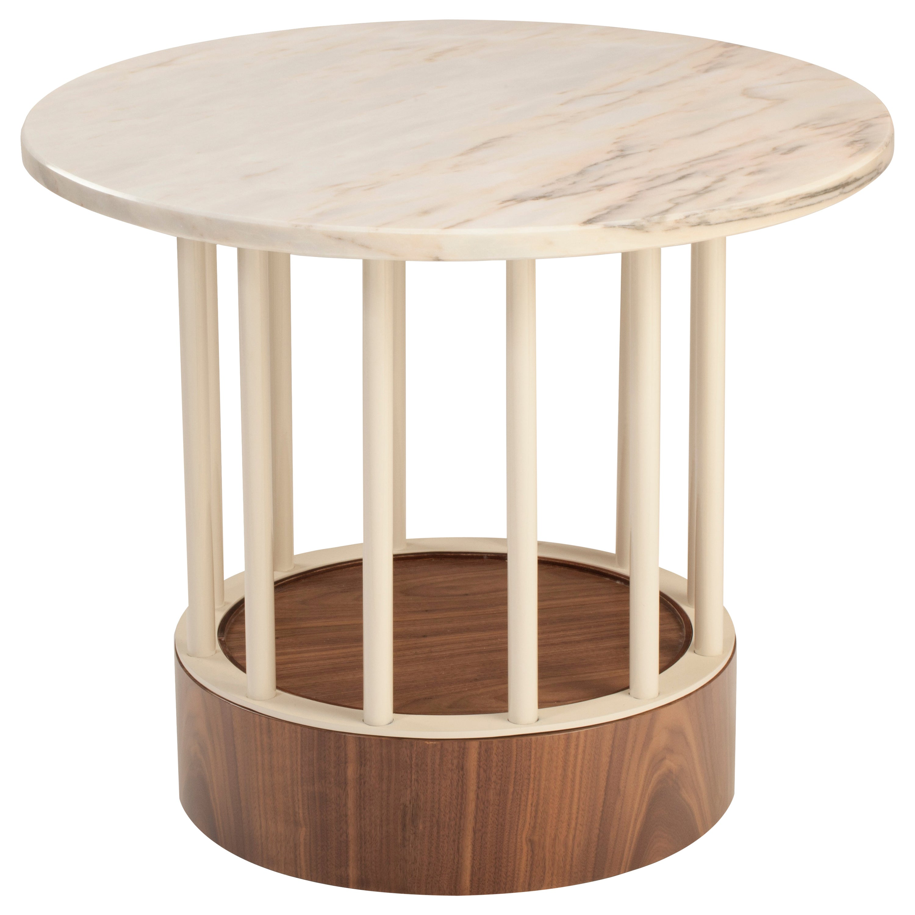 Side Table Eileen in Marble, Lacquered Metal and Plywood