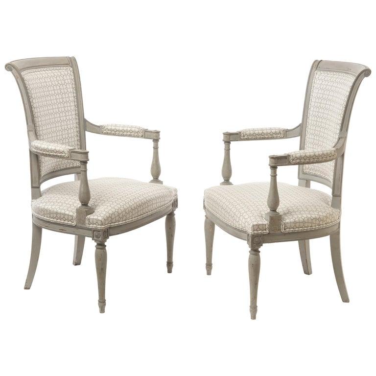 Pair of Stunning Directoire Style Fauteuils 1