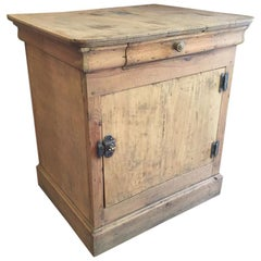 19th Century French Little Wooden Cupboard with Drawer, 1890s