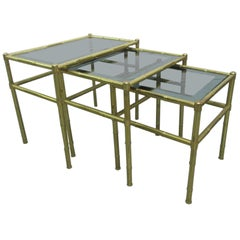 French Faux Bamboo Brass Nesting Tables