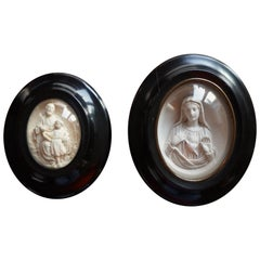 Hand Carved Wall Plaques with Sepiolite Sculptures of Mary Jesus and Joseph