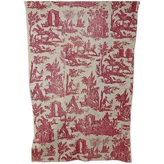 Red Toile Hunting Scenes Small Quilt French, 18th Century