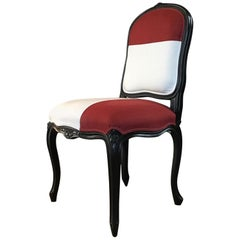 French Style Black Lacquered Wood Dining Chair Red and White Upsholstered, 2018