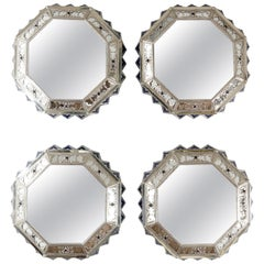 Set of Four Mirror Frames, German Silver and Ceramic