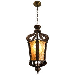 Large Midcentury Wooden Pendant / Light Fixture with Rare Amber Cathedral Glass