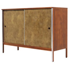 """Paul McCobb """"Linear Group"""" Credenza with Leather Doors for Calvin Furniture"""
