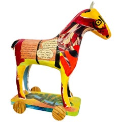 Papier Mâché Sculpture of a Horse in Polychrome Bright Colors Arabic Writing