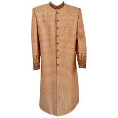 Gold Brocade Gentleman Indian Wedding or Party Maharaja Sultan Tuxedo Coat