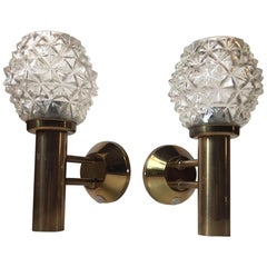 Pair of Midcentury Hand Grenade Sconces in Brass and Pressed Glass