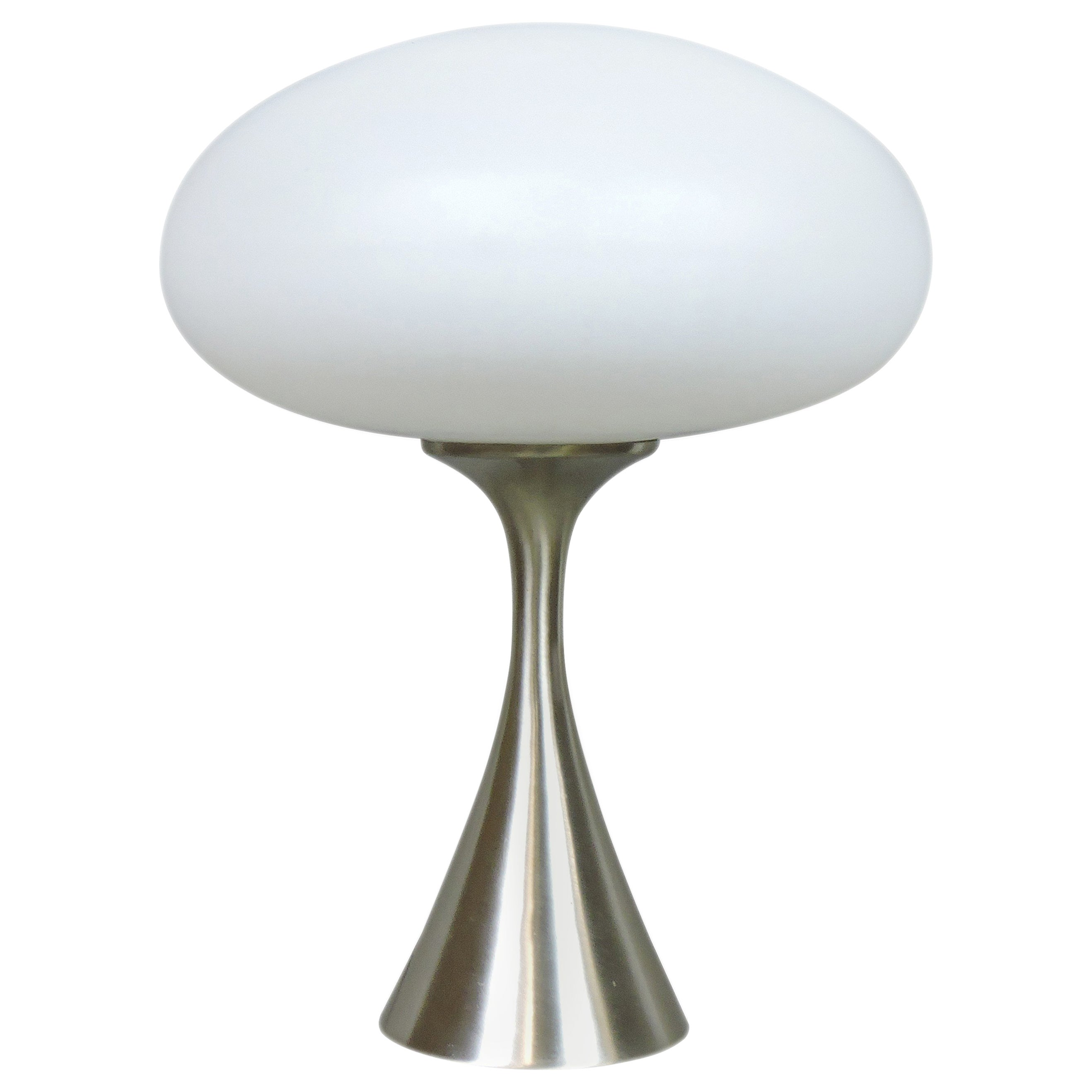 Laurel Lamp Co Mid Century Modern Mushroom Brushed Chrome Table