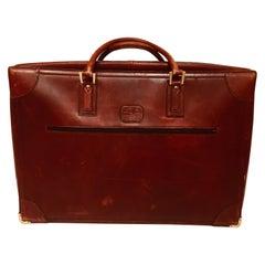 """Vintage Leather Suitcase """"La Bagagerie Paris"""" Burgundy Bordeaux Luggage"""