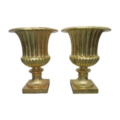 Pair of Oversized Gold Gilded Urn Planters