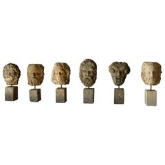 Collection 6 Gods Head Statues Handcrafted in Limestone, Late 20th Century Italy