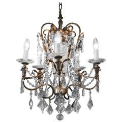 Fine Beaded Silver Crystal Chandelier Antique Ceiling Lamp Lustre Art Deco