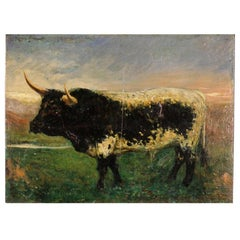 20th Century Oil On Board Spanish Impressionist Style Bull Painting, 1920