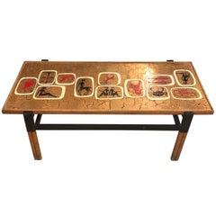 Mid-Century Modern Italian Enameled Zodiac Coffee Table, circa 1970