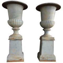 Pair of Vases Urns with Pedestals in Iron from France 20th Century