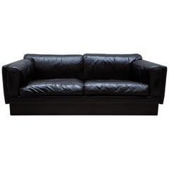 Set of Two Durlet Black Leather Couches, Settees 1970s Made in Belgium