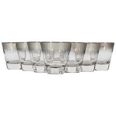 1960s Silver-Fade Small Glass Tumblers, Set of 8