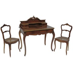 19th Century French Louis XV Style Hand Carved Writing Desk and Two Cane Chairs