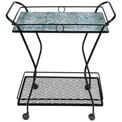 1950s Black Metal and Tile Top Rolling Cart