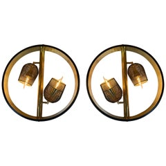 Pair of Italian Space Age Round Brass Sconces w/ Adjustable Black Iron Diffusers