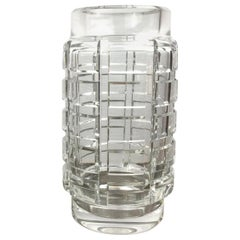 French Art Deco Clear Crystal Vase by Baccarat, 1940s